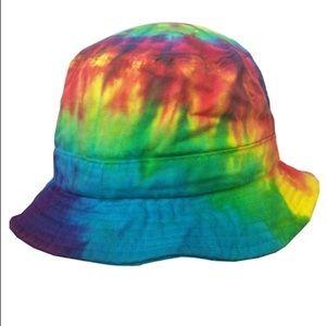 Rainbow tiedye bucket hat rave festival y2k unisex
